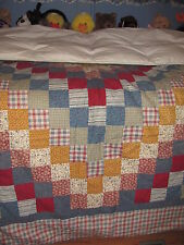 BEAUTIFUL TWIN GOOSE DOWN QUILT CALICO BLOCK PATTERN BLUE, YELLOW, AND RED