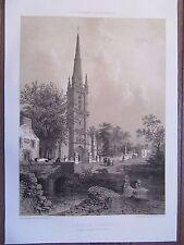 BELLE GRAVURE 1867 BRETAGNE COTES D'ARMOR EGLISE ST EMILION LOGUIVY PLOUGRAS