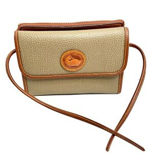 Dooney & Bourke All Weather Leather Flap Crossbody Wallet Purse Taupe Small