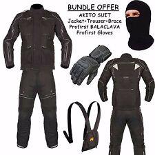 AKITO LATITUDE Motorcycle Motorbike Jacket Trouser + Profirst Gloves Balaclava
