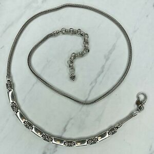 Brighton Silver Tone Bar Heart Belly Body Chain Link Belt Size Large L