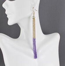 "Purple Gold tone 4.5"" long tassel fringe chain earrings dangle lightweight"