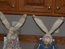 "PAIR EASTER BENCH BUNNY RABBITS COLORFUL CLOTHING 36"" Length ~ ADORABLE PAIR ~"