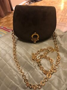 Salvatore Ferragamo Garcini Convertible Chain Waist/Shoulder Brown Suede Bag