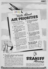 BRANIFF AIRWAYS 1943 FACTS ABOUT AIR PRIORITIES WW2 & 5/43 SCHEDULE OAG