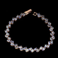 Sterling Silver Bracelet Blue Tanzanite Genuine Gem Rose Gold Plated 7 1/2 Inch
