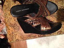 Anthropologie Athena wedge bronze leather sandal