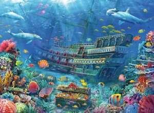 Jigsaw puzzle Animal Dolphin Sunken Ship Underwater Discovery 200 piece NEW