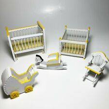 Vintage Wood Dollhouse Furniture Nursery Crib Playpen Rocking Horse White