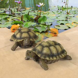 Large Turtle Set of 2 Garden Statue Animal Wild Sculpture Outdoor Decor Accent