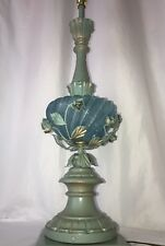 Vtg Italian Murano Glass Table Lamp Turquoise Blue Gold Flower Hollywood Regency