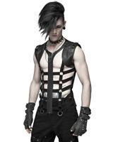 Punk Rave Mens Gothic Strap Waistcoat Vest Tank Top Black PU Leather Dieselpunk