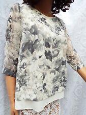 NOUGAT London Silk Mix Layered Top  Ivory & Grey Floral Print size 10/12