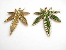 5pcs Alloy Green Enamel Marijuana Leaf Charms Beads Pendant Jewelry Finding 39mm