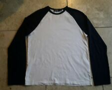 mens long sleeved top. Top man. Size Small.  white with navy sleeves.