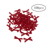 100pcs Ribbon Bow-knot Grosgrain Mini Bow Ties Rose Appliques Craft Dark Red