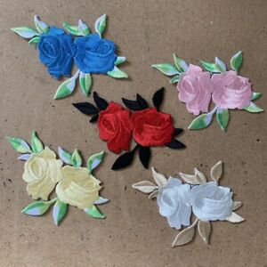 1pc Flower Embroidered Patch Cloth Iron On Applique craft sewing #1946