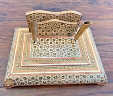 Vintage Gold or Brass? and Wood Inlay Letter Holder Pen Desk Station Marquetry