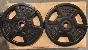 """(2) 10lb GOLDS GYM  Barbell Weight Plate Standard 1""""Hole Dumbbells 20 lbs total"""