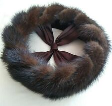Mink Fur Headband Hat Ring with Ribbon X Brown Estate Find