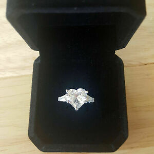 Sterling Silver Sparkling Heart Shaped Wedding Engagement Ring Fashion Jewellery
