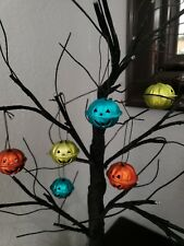 Halloween Pumpkin Orange Green Turquoise Mini Bell Tree Ornaments Decor Set of 6