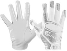 CUTTERS REV 2.0 FOOTBALL RECEIVER GLOVES YOUTH SMALL PAIR WR DB RB TE WHITE SILV