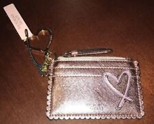 VICTORIA'S SECRET METALLIC PINK HEART CARD CASE KEYCHAIN WALLET COIN POUCH