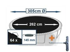 Trampolin Sprungtuch Sprungmatte Zubehör (305 cm Ø,64 Ösen,Federn 14,5 cm)