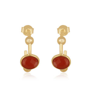 Red Onyx Gemstone Jewelry 18K Gold Plated 925 Sterling Silver Earrings