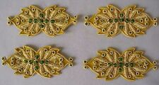 4 Hand-Embroidered Appliques Gold Bullion Green Beads 3½ Wide Floral