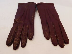 NEW! TALBOTS LADIES REDISH BROWN LEATHER EVERYDAY GLOVES SILK LINING SIZE 6.5