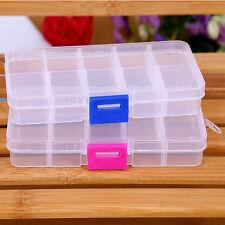 10/15/24 Plastic Slots Adjustable Jewelry Case Storage Box Case Beads Organizer