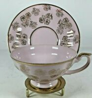 Vintage Marco Pink with Gold Carnations Tea Cup and Saucer Set