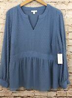 Charter Club womens 3X blouse top new blue clip dot peplum vneck shirt D8/O7