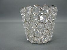 Silberfarbener Teelichthalter Kerzenständer 9 cm mit Glasprismen