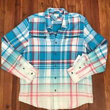 Guess Karter Vivid Blue Plaid LS Zip Pocket Slim Fit Shirt Sz XL NWT $70