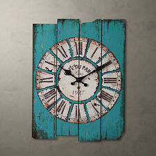 "15"" Antique Vintage Wooden Blue Clock Wall Country Large Art Home Decor"