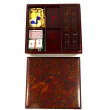 ANTIQUE JAPANESE MEIJI LACQUER GAMES BOX WITH CRIBBAGE & TOKENS HAND PAINTED