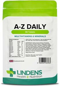 A-Z Daily 90 Tablets Multi Vitamins & Minerals for Men and Women Lindens