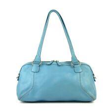 COLE HAAN Pebbled Leather Satchel Bag Blue Pastel Tote Purse Shoulder Handbag