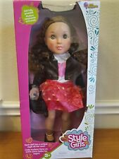 """Style Girls Valentina 18"""" Tall Doll Sporty Leather Jacket Skirt Purse New"""