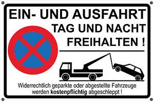 Schild EINFAHRT AUSFAHRT FREIHALTEN Aufkleber - Parkverbot Hinweisschild schwarz
