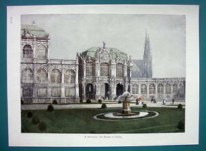 GERMANY Dresden View of Zwinger Gallery - COLOR VICTORIAN Era Print