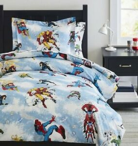DC JUSTICE LEAGUE Glow-in-Dark Duvet Cover Sheet Set Sham Twin NEW Pottery Barn