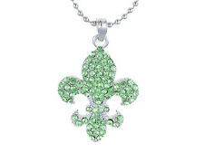 Crystal Silver Chain Pendant Necklace Charming Fleur De Lis Green Rhinestone