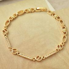 Shiny elegant 9K Yellow Gold Filled clear Rhinestone Womens Bracelet Jewelry 7''