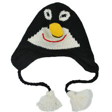 Women's 100% Wool Fleece Lined Penguin Animal Winter Hat - 80279