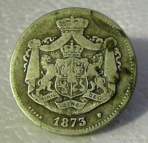 ROMANIA - CAROL I  (AS PRINCE) SILVER 2 LEI 1873 - KM # 8 - FINE