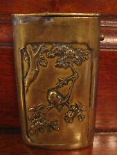 Antique Japanese Brass Match Safe w/ Bird & Fish Decoration